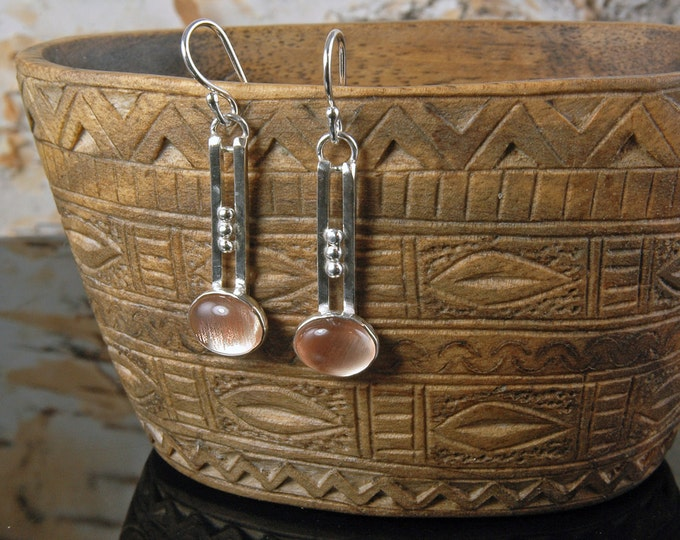 Oregon Sunstone Cabochon and sterling silver earrings
