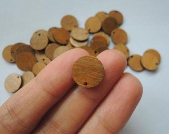 50Pcs  13mm mini wood disc   (NW157)-dye brown