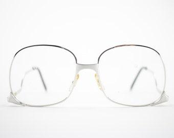 70s Vintage Glasses   Silver Oversized Eyeglass Frame with Clear Demo Lenses   1970s NOS Round Eyeglasses   Deadstock Eyewear - Whet Silver