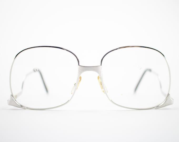 70s Vintage Glasses | Silver Oversized Eyeglass Frame with Clear Demo Lenses | 1970s NOS Round Eyeglasses | Deadstock Eyewear - Whet Silver