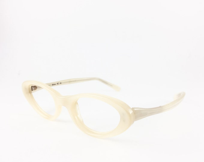 Vintage 50s Eyeglasses | Pearlescent White Cateye Glasses | NOS Eyeglass Frame | Deadstock Eyewear - White Iris