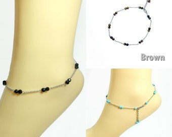 Double Beads Silver Chain Anklet with Stone Pendent boho chic Handmade ankle bracelet (JA1027)