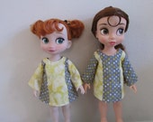 """Yellow and Grey Play Day Dresses for 16"""" Disney Animator Dolls (2 for 1)"""