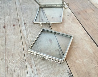 double sided silver square glass frame locket hinged pendant floating locket charm vintage style antique silver - Double Sided Glass Frame
