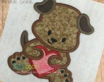 Puppy Applique Design - Dog Applique Design - Heart Applique Design - Valentine's Day Applique Design - Animal Applique Design