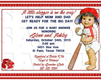 Lil Slugger Red Invitation, Baby Shower, Announcements, Personalized, DIY Printable, Baby Girl,Digital Invite,Baseball