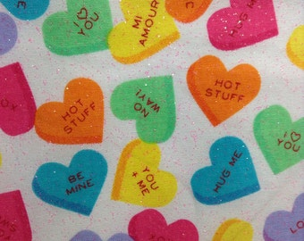One Half Yard Fabric Material - Valentine Candy Hearts