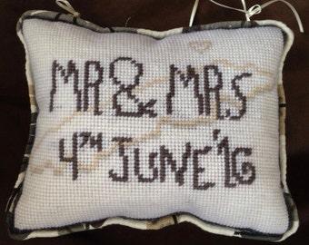 Custom Embroidered Pillow as Door Hanger (wedding gift)