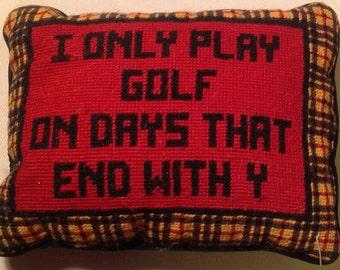 "Needlepoint Decorative Pillow ""Golf"""