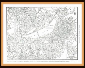 1945 Detailed Map of Boston, Massachusetts- Ephemera, reference, nostalgia, for decor, print, to frame