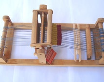 Vintage Small Bulgarian Table Loom/ RareRare Child Weaving Loom/Wooden Loom with traditional rug/1980s