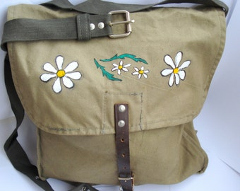 Vintage Hand Painted Military Canvas Shoulder Bag, Unisex bag/Cold War Soviet union 1970