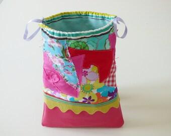 Baby bag, drawstring bag, snack bag, pink, kids tote bag, book bag, preschool bag, storage pouch, pouch bag, sliding bag, patchwork fabric
