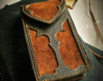 Leather tarot case / tarot case / pouch -/- gothic -/- Initiated