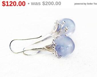 40% OFF! Ice Queen Earnings - Lampwork Earrings - Blue Earrings - Lavander Earrings - Violet Earrings - Silver Earrings - Winter Collection