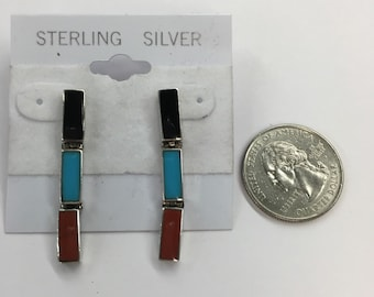 Sterling Silver Earrings Inlaid Turquoise Coral Black Onyx