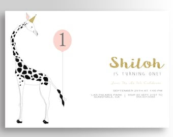 Giraffe Birthday Invitation BIRTHDAY GIRAFFE INVITATION