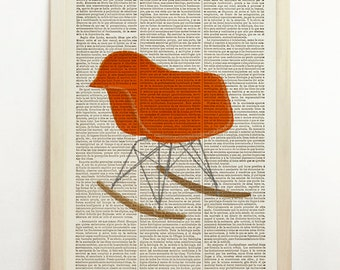 Rocking Chair Poster Charles Eames Print Mid Century Danish Modern Furniture Art Orange Upcycled Decor Book Dictionar
