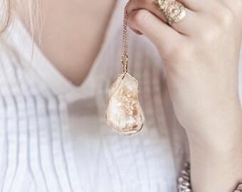 Citrine Stone Wire Wrapped, Boho Necklace, Wire Wrapped Citrine, Citrine on Gold Chain, Bohemian Jewelry, Boho Girl, Bohemian Jewelry, Her
