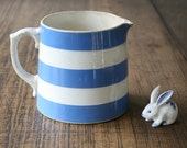 T.G Green Cornishware Striped Jug Early Church Pitcher for Sauces, Milk Blue and White Stripe Vase Stripy Display Prop Vessel Cornish Ware