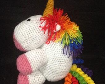 Large Stuffed Rainbow Unicorn