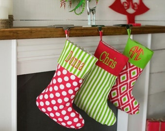Monogram Christmas Stocking, Personalized Chirstmas stockings, Embroidered Chirstmas Stocking, Chevron, Polka Dot, Stripe, Aztec
