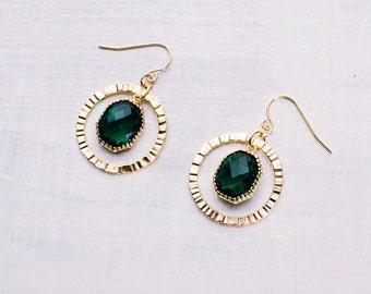 Golded earrings green