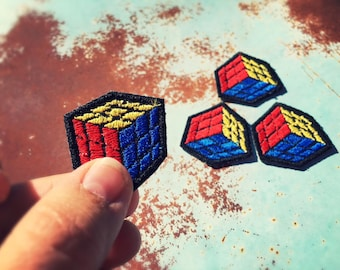 Mini Rubiks Cube Embroidered Iron-On Patch