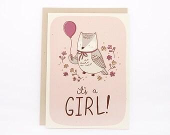 ON SALE! 5x7 Baby Card- Girl Owl