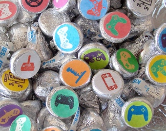 Video Game Party,  Candy Stickers, Birthday, Gamer Party, Kiss Labels, Party Favors, Printed