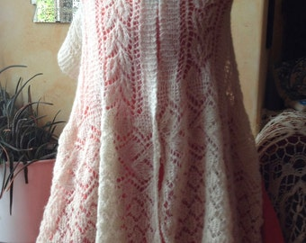 Romantic handknit lace shawl, rectangular, offwhite - shawlette, shoulder shawl