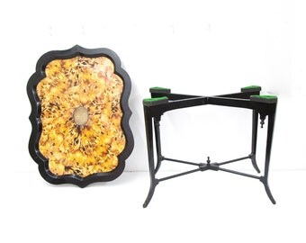 Simulated Tortoise Shell Table on Cross Stretcher Base