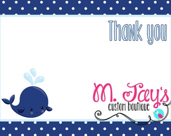 Whale Birthday Party Printable Thank you cards-DIY