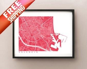 Valencia Map Print - Spain Poster