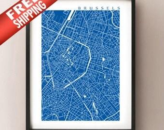 Brussels Map Print - Belgium Poster