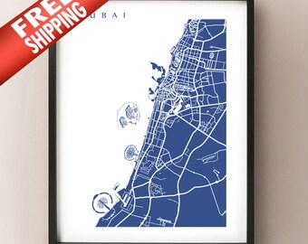 Dubai Map Art Print -  United Arab Emirates Poster