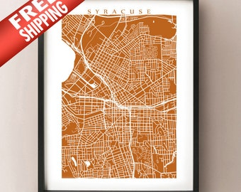 Syracuse Map Print - New York Poster