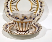 Royal Chelsea Trio, Handpainted Plate, Tea Cup and Saucer, Antique Tea Cups, 3 Piece Tea Set, Antique Teacups, Tea Set, Blue Gold Cups