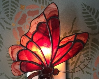 Red Butterfly Stained Glass Night Light