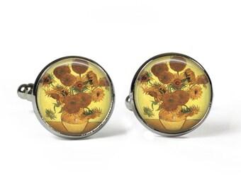 SUNFLOWERS Van Gogh - Glass Picture Cufflinks - Silver Plated (Art Print J20)