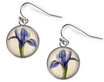 IRIS - Glass Picture Earrings - Silver Plated (Art Print Photo AA9)