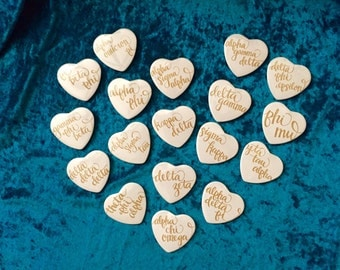 White heart buttons with gold sorority script!