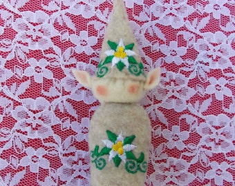 Elf Ornament ~ Decoration ~ Christmas ~ Holiday Oatmeal Stuffed Felt With Red & Green Poinsettia