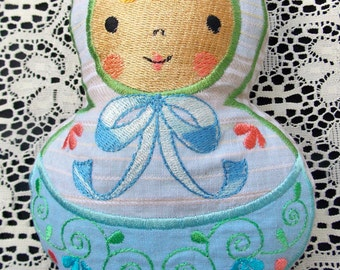 Doll~Plushie~Stuffed~Rag~Doll~Toy Baby Shower Gift~Child~Kids~Russian Style Mamushka~Babushka Machine Embroidered on Reclaimed Fabrics
