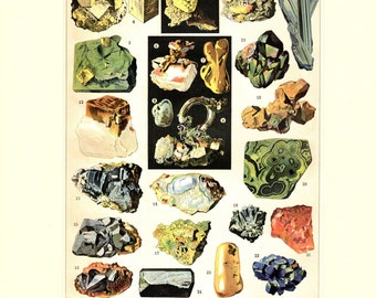 Minerals Rocks Precious Gems 1887 Matted Antique Print Geology Larousse French Science