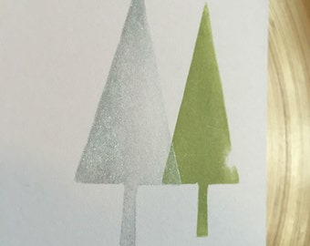 5 handmade Christmas cards with envelope