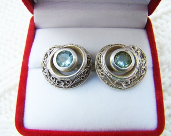Vintage sterling silver 925 earrings with  Blue Topaz