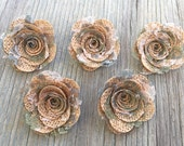 5 Burlap Rose Flower- Handmade Rustic Camouflage Lace Collection Posey Rose Roses Natural Rustic Wedding Decoration Bridal Decor Card Making