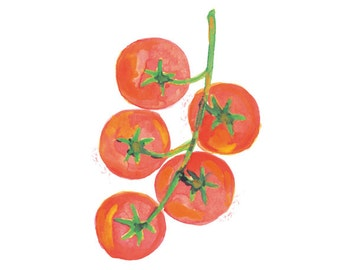 Tomatoes Watercolor Painting, Red Home Decor, Botanical Watercolor, Kitchen Wall Art, Fruit Art Print, Kitchen Wall Decor