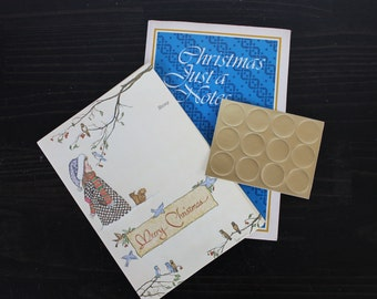 Vintage Assorted Current Just a Note Christmas Winter, Tri Fold Stationery Set By Current, Postcard, Seal. Fold Over Notes
